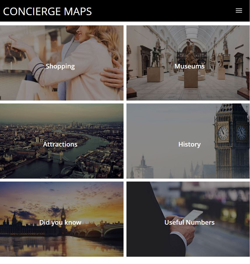 a screentshot of the conciergemaps.ch website